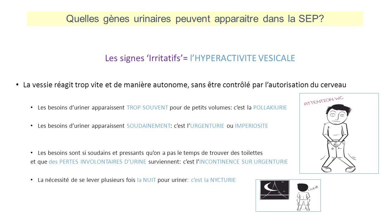 Quelles gènes urinaires peuvent apparaitre dans la SEP? Les signes 'Irritatifs'= l'HYPERACTIVITE VESICALE La vessie réagit trop vite et de manière aut