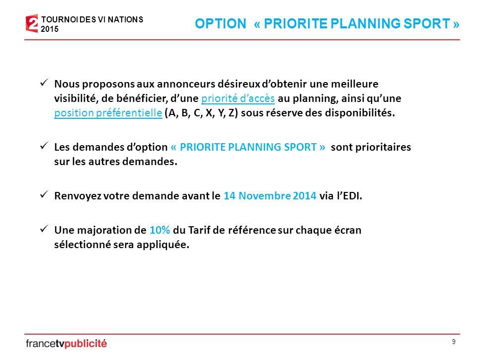 9 OPTION « PRIORITE PLANNING SPORT » Nous proposons aux annonceurs désireux d'obtenir une meilleure visibilité, de bénéficier, d'une priorité d'accès au planning, ainsi qu'une position préférentielle (A, B, C, X, Y, Z) sous réserve des disponibilités.