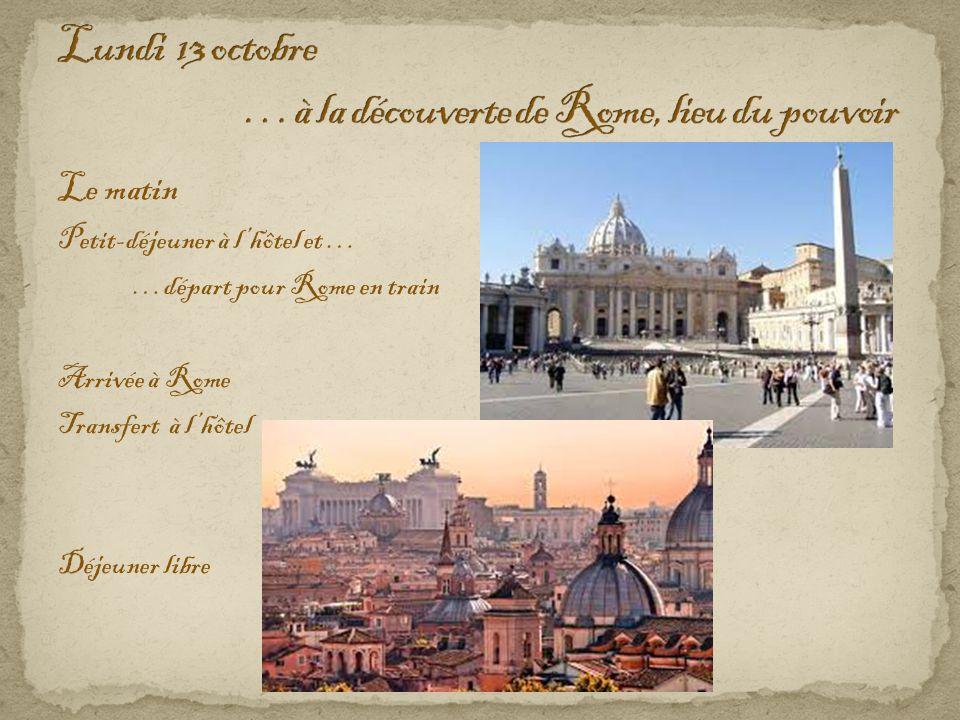 Le matin Petit-déjeuner à l'hôtel et … …départ pour Rome en train Arrivée à Rome Transfert à l'hôtel Déjeuner libre