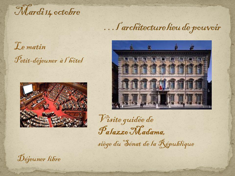 Le matin Petit-déjeuner à l'hôtel Visite guidée de Palazzo Madama, siège du Sénat de la République Déjeuner libre