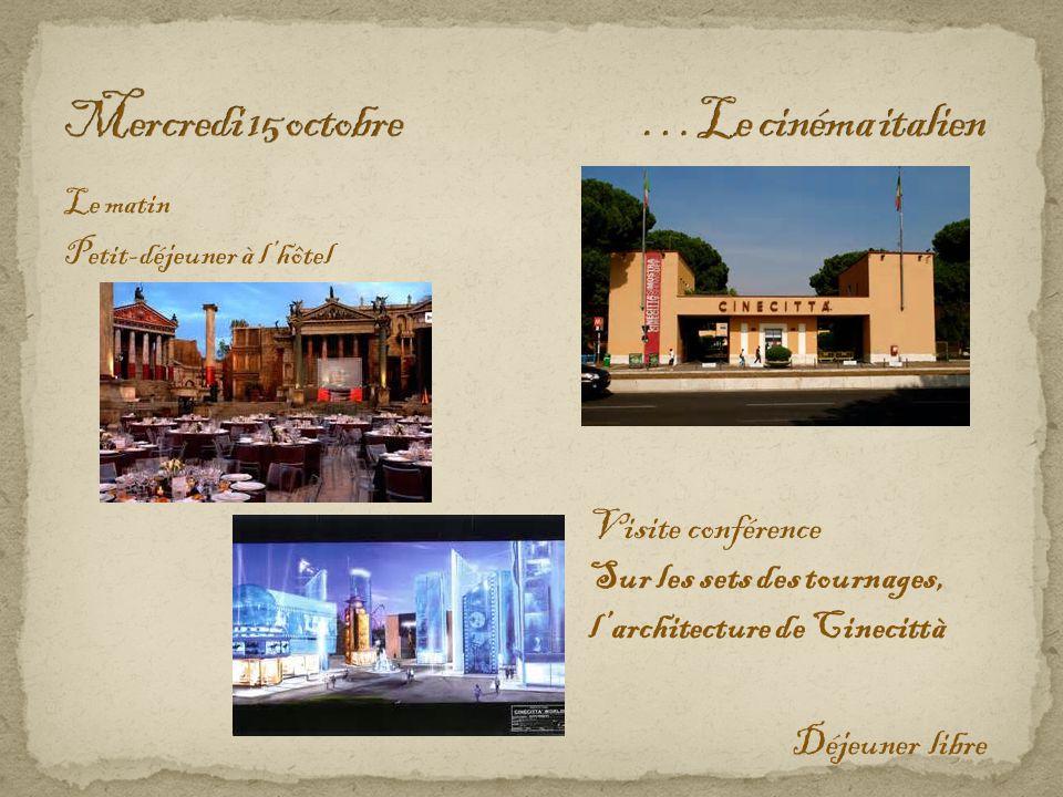 Le matin Petit-déjeuner à l'hôtel Déjeuner libre Visite conférence Sur les sets des tournages, l'architecture de Cinecittà