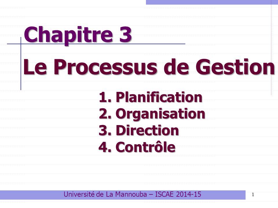 Chapitre 3 Le Processus de Gestion 1 Université de La Mannouba – ISCAE 2014-15 1. Planification 2. Organisation 3. Direction 4. Contrôle