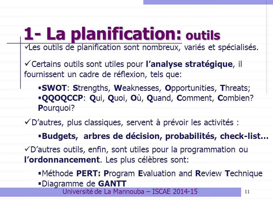 11 1- La planification: outils Les outils de planification sont nombreux, variés et spécialisés. Certains outils sont utiles pour l'analyse stratégiqu
