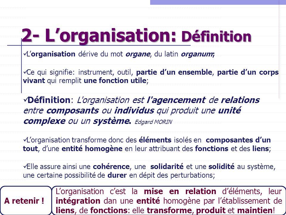 13 2- L'organisation: Définition L'organisation dérive du mot organe, du latin organum; Ce qui signifie: instrument, outil, partie d'un ensemble, part