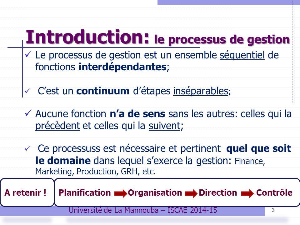 Introduction: le processus de gestion 2 Le processus de gestion est un ensemble séquentiel de fonctions interdépendantes; C'est un continuum d'étapes