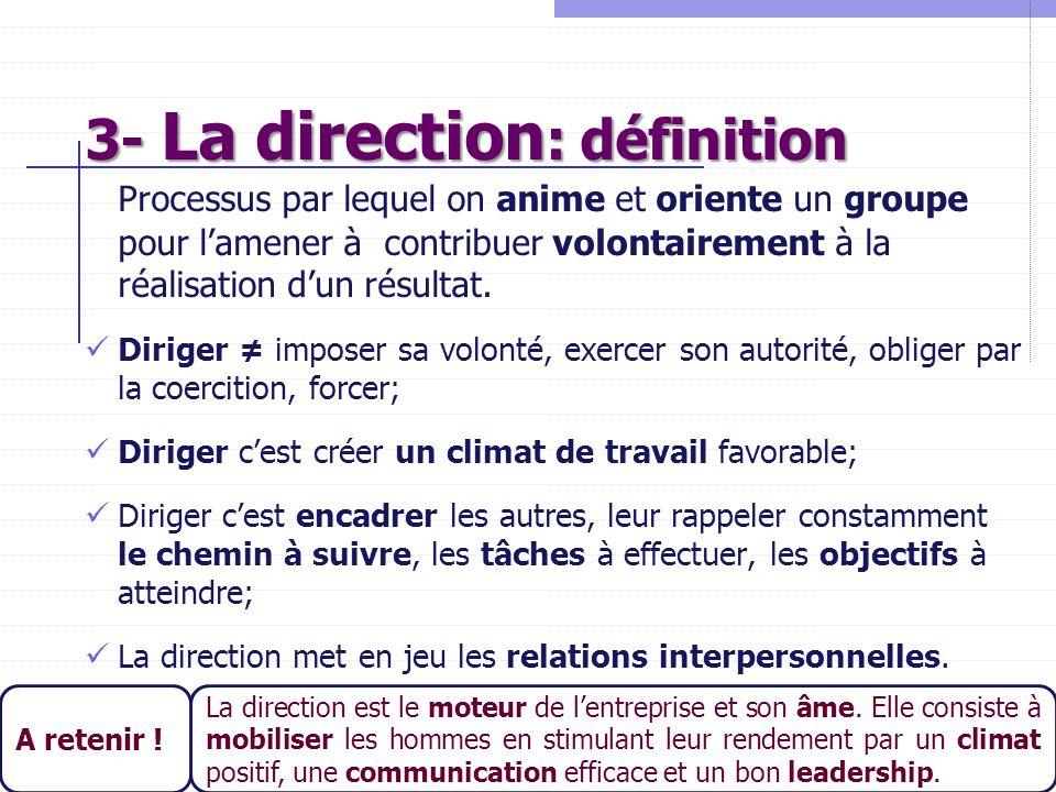 20 3- La direction : définition Processus par lequel on anime et oriente un groupe pour l'amener à contribuer volontairement à la réalisation d'un rés