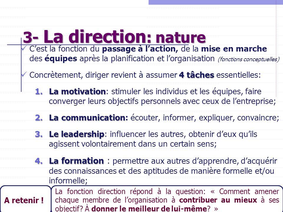 21 3- La direction : nature C'est la fonction du passage à l'action, de la mise en marche des équipes après la planification et l'organisation (foncti