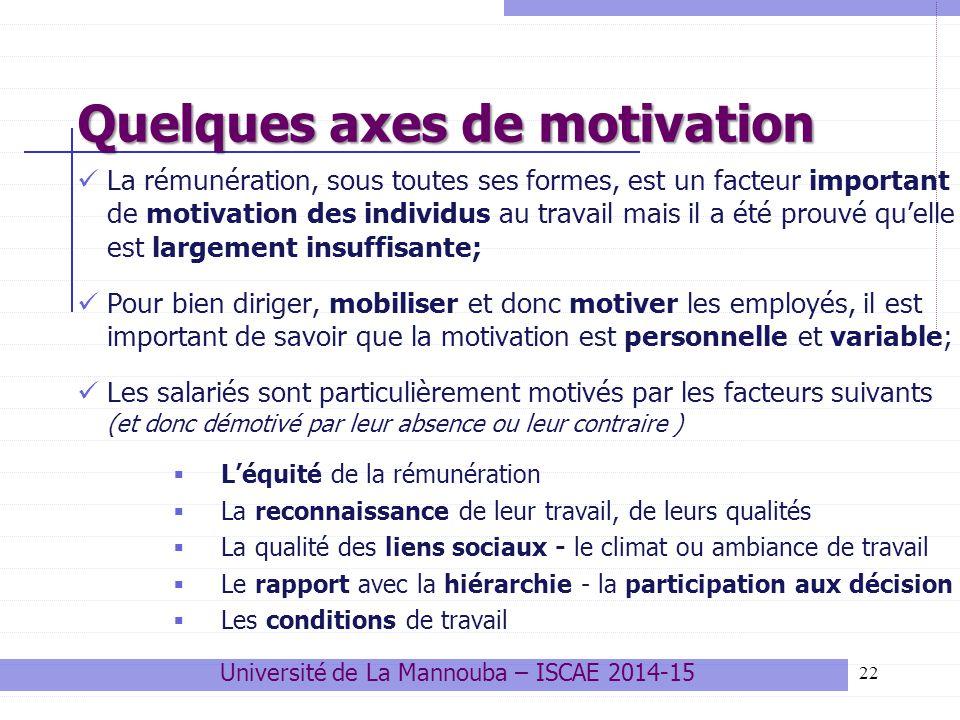 22 Quelques axes de motivation La rémunération, sous toutes ses formes, est un facteur important de motivation des individus au travail mais il a été