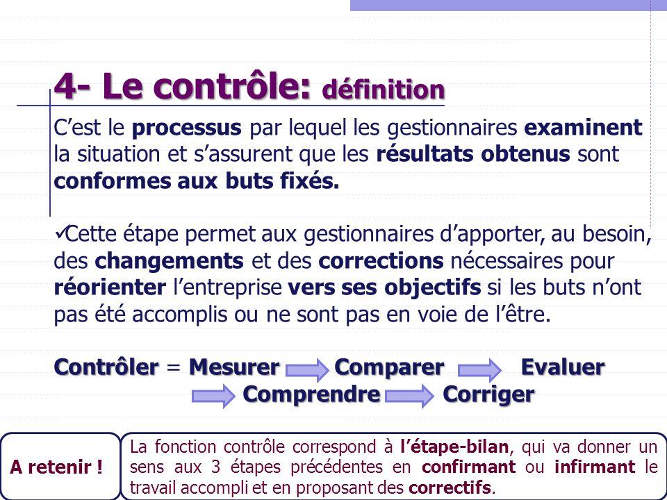 24 4- Le contrôle: définition C'est le processus par lequel les gestionnaires examinent la situation et s'assurent que les résultats obtenus sont conf