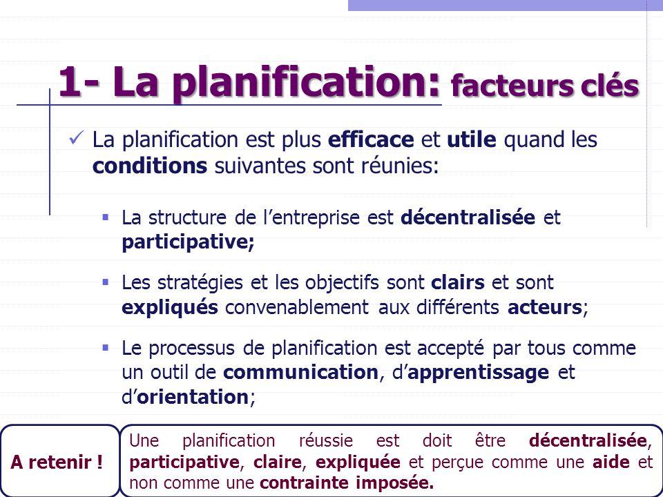9 La planification est plus efficace et utile quand les conditions suivantes sont réunies:  La structure de l'entreprise est décentralisée et partici