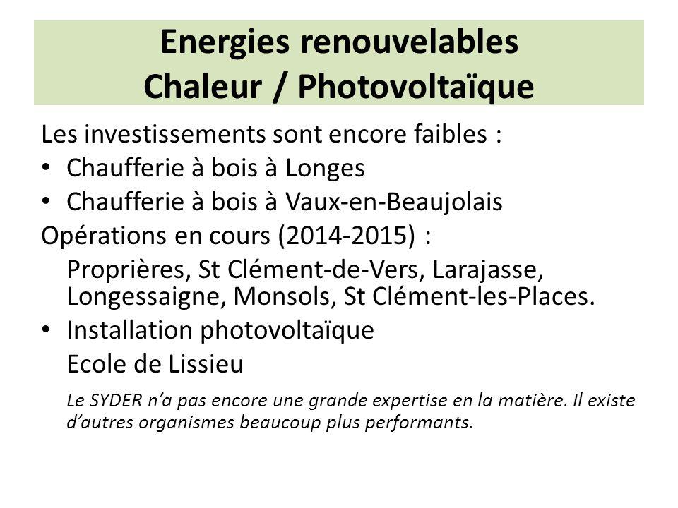 Energies renouvelables Chaleur / Photovoltaïque Les investissements sont encore faibles : Chaufferie à bois à Longes Chaufferie à bois à Vaux-en-Beaujolais Opérations en cours (2014-2015) : Proprières, St Clément-de-Vers, Larajasse, Longessaigne, Monsols, St Clément-les-Places.