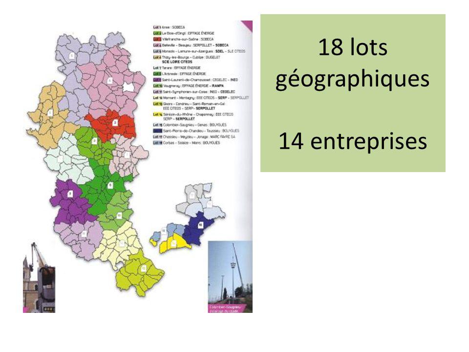 18 lots géographiques 14 entreprises