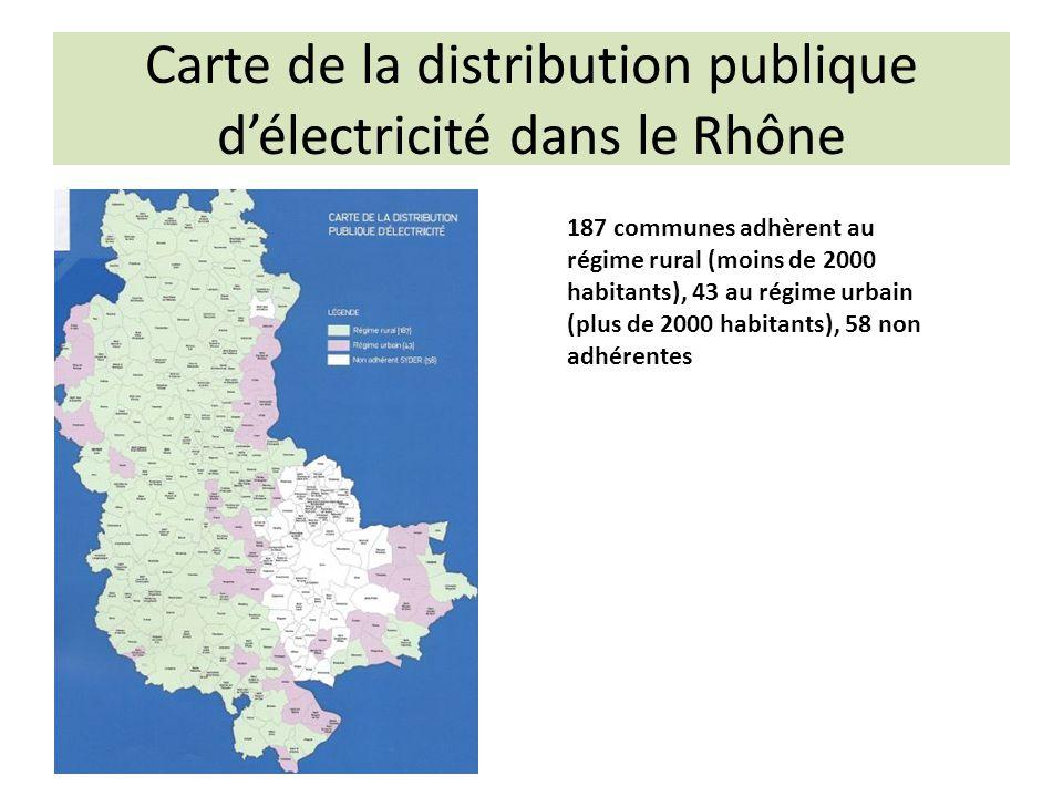 Carte de la distribution publique d'électricité dans le Rhône 187 communes adhèrent au régime rural (moins de 2000 habitants), 43 au régime urbain (plus de 2000 habitants), 58 non adhérentes