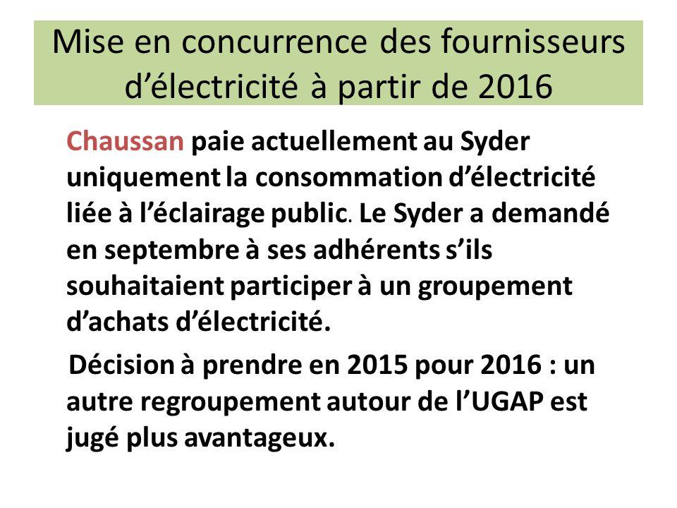 Mise en concurrence des fournisseurs d'électricité à partir de 2016 Chaussan paie actuellement au Syder uniquement la consommation d'électricité liée à l'éclairage public.