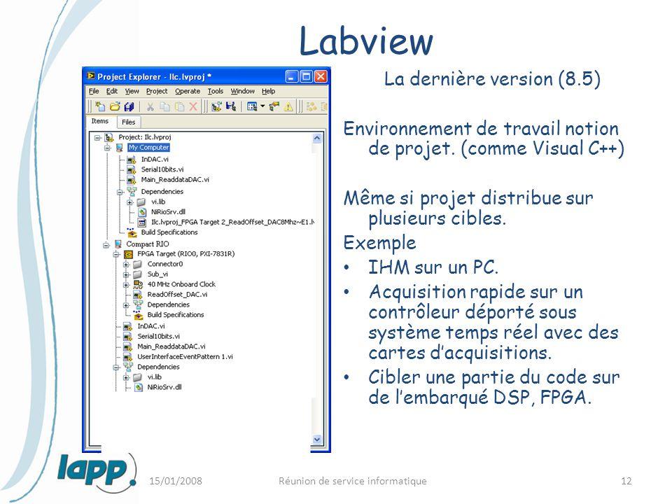 15/01/2008Réunion de service informatique12 Labview La dernière version (8.5) Environnement de travail notion de projet. (comme Visual C++) Même si pr