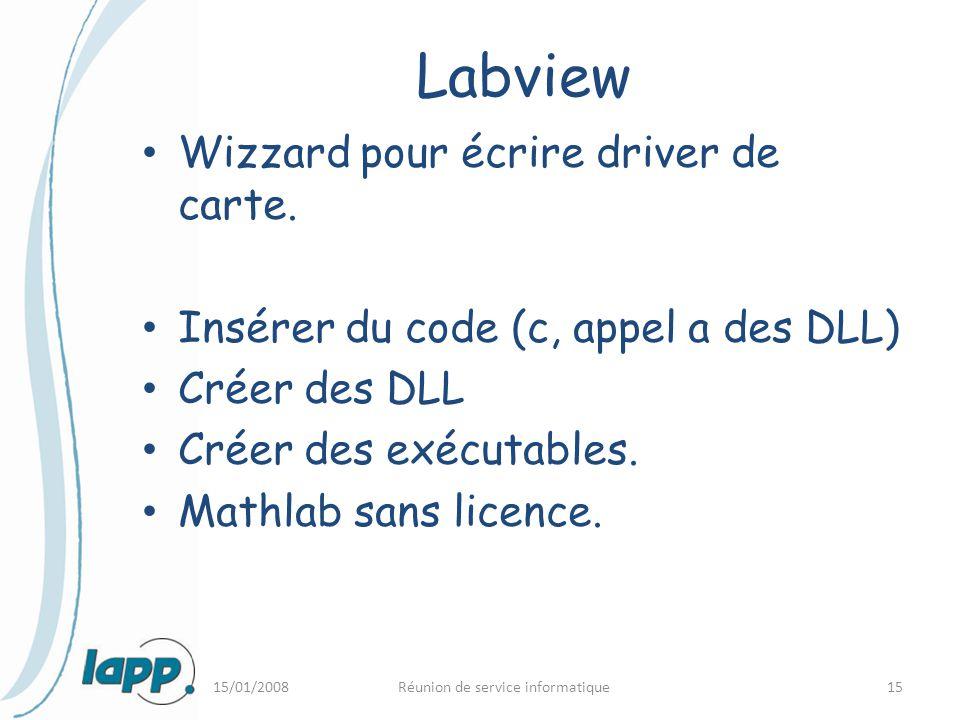 15/01/2008Réunion de service informatique15 Labview Wizzard pour écrire driver de carte. Insérer du code (c, appel a des DLL) Créer des DLL Créer des