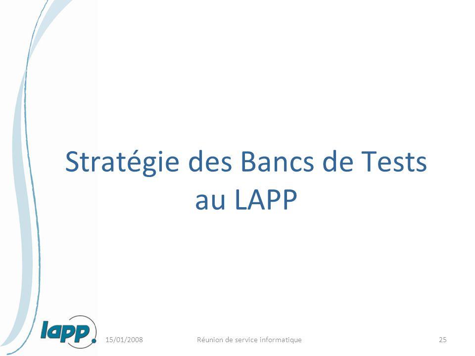 15/01/2008Réunion de service informatique25 Stratégie des Bancs de Tests au LAPP