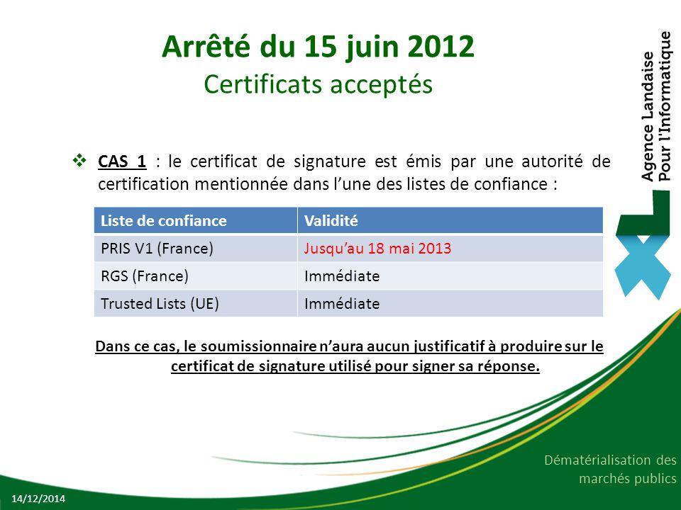 Dématérialisation des marchés publics Arrêté du 15 juin 2012 Certificats acceptés  CAS 1 : le certificat de signature est émis par une autorité de ce