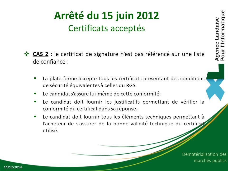 Dématérialisation des marchés publics Arrêté du 15 juin 2012 Certificats acceptés  CAS 2 : le certificat de signature n'est pas référencé sur une lis