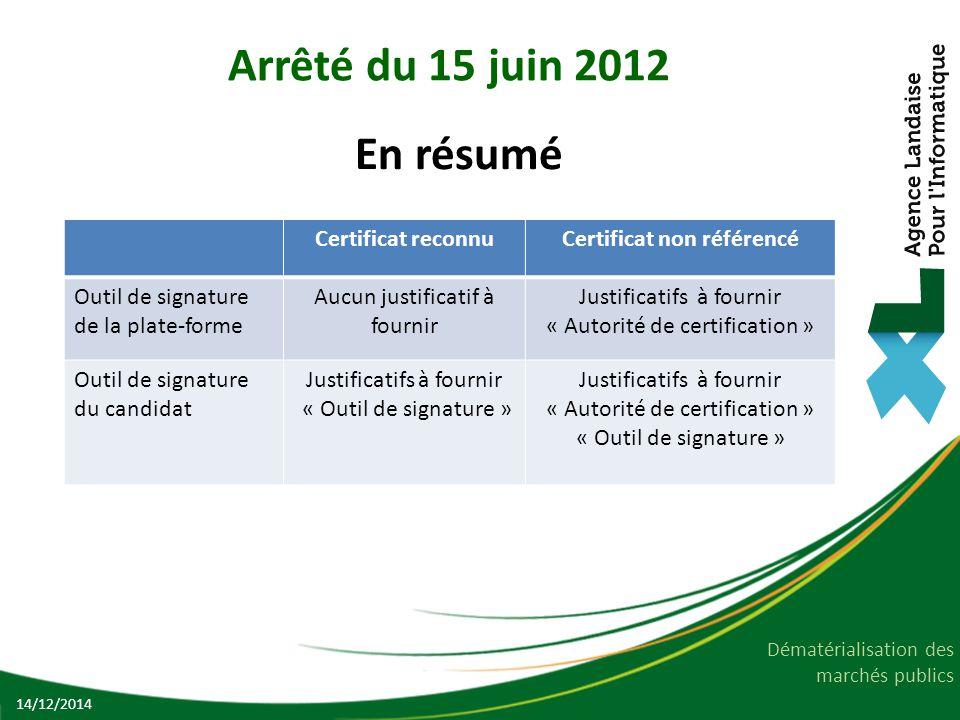 Dématérialisation des marchés publics Arrêté du 15 juin 2012 En résumé 14/12/2014 Certificat reconnuCertificat non référencé Outil de signature de la