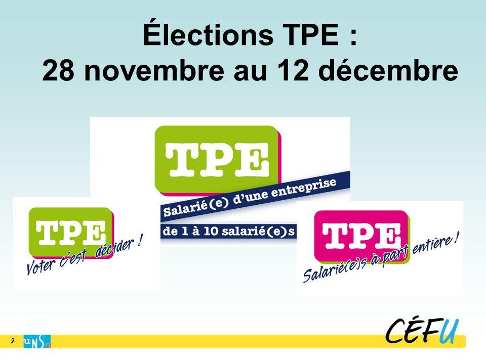 2 Élections TPE : 28 novembre au 12 décembre