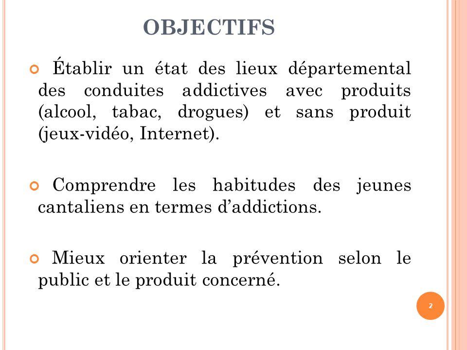 OBJECTIFS Établir un état des lieux départemental des conduites addictives avec produits (alcool, tabac, drogues) et sans produit (jeux-vidéo, Interne