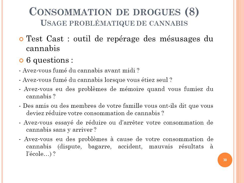 30 C ONSOMMATION DE DROGUES (8) U SAGE PROBLÉMATIQUE DE CANNABIS Test Cast : outil de repérage des mésusages du cannabis 6 questions : - Avez-vous fum