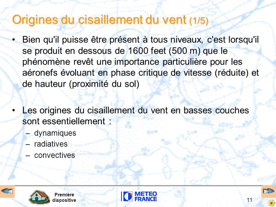 Première diapositive 11 Origines du cisaillement du vent (1/5) Bien qu'il puisse être présent à tous niveaux, c'est lorsqu'il se produit en dessous de