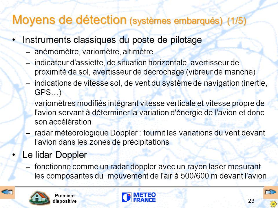 Première diapositive 23 Moyens de détection (systèmes embarqués) (1/5) Instruments classiques du poste de pilotage –anémomètre, variomètre, altimètre