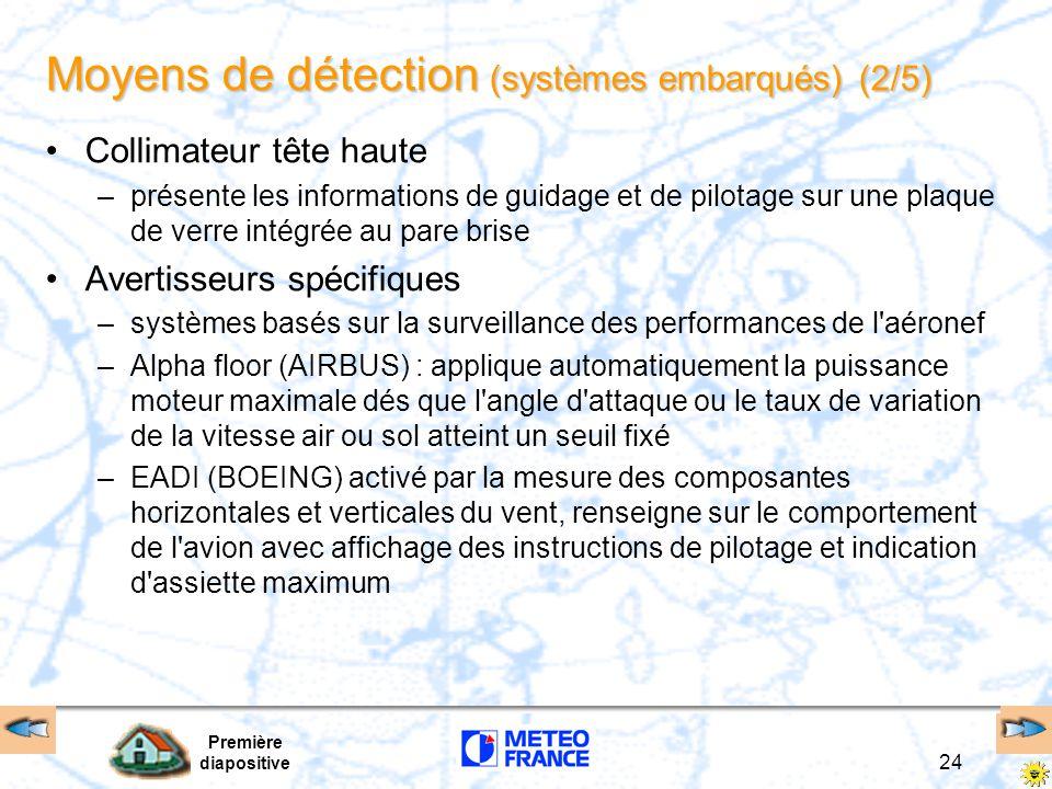 Première diapositive 24 Moyens de détection (systèmes embarqués) (2/5) Collimateur tête haute –présente les informations de guidage et de pilotage sur