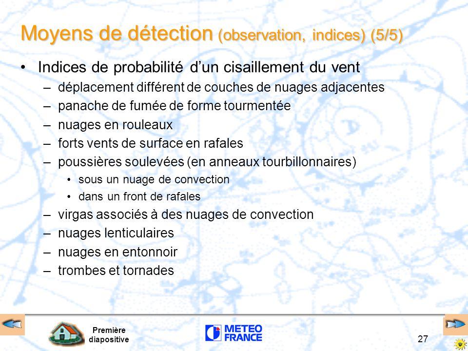 Première diapositive 27 Moyens de détection (observation, indices) (5/5) Indices de probabilité d'un cisaillement du vent –déplacement différent de co