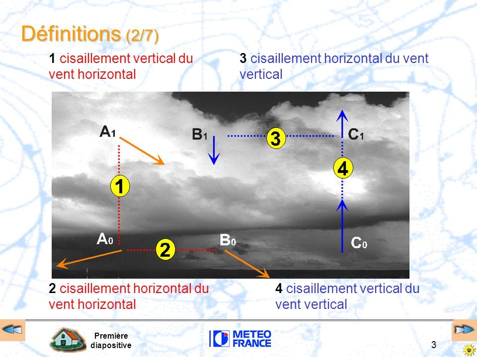 Première diapositive 4 Définitions (3/7) Gradient de vent –le module du vecteur cisaillement du vent normé par la distance AB détermine l intensité du cisaillement du vent ou gradient de vent –unités aéronautiques vent vertical (w ou V z )  feet/mn vent horizontal  kt distance AB : verticale  feet, horizontale  NM –le gradient de vent horizontal pourra s exprimer en : kt/NM (gradient horizontal) ou kt/100 (gradient vertical) en terme d accélération, qui donne le taux de variation de la vitesse de l avion subissant un cisaillement de vent gradient de vent = CV A  B AB