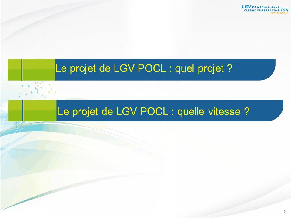 Le projet de LGV POCL : quel projet ? 2 Le projet de LGV POCL : quelle vitesse ?
