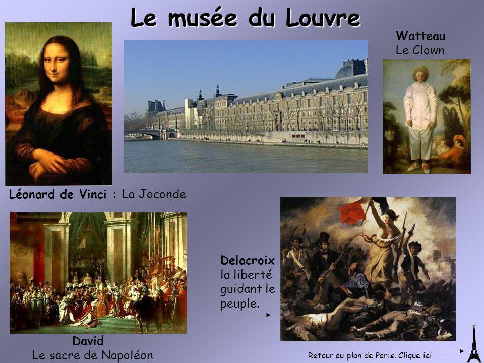 Léonard de Vinci : La Joconde Watteau Le Clown Le musée du Louvre David Le sacre de Napoléon Delacroix la liberté guidant le peuple. Retour au plan de