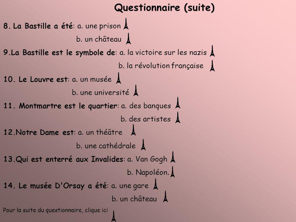 Questionnaire (suite) 8. La Bastille a été: a. une prison b. un château 9.La Bastille est le symbole de: a. la victoire sur les nazis b. la révolution