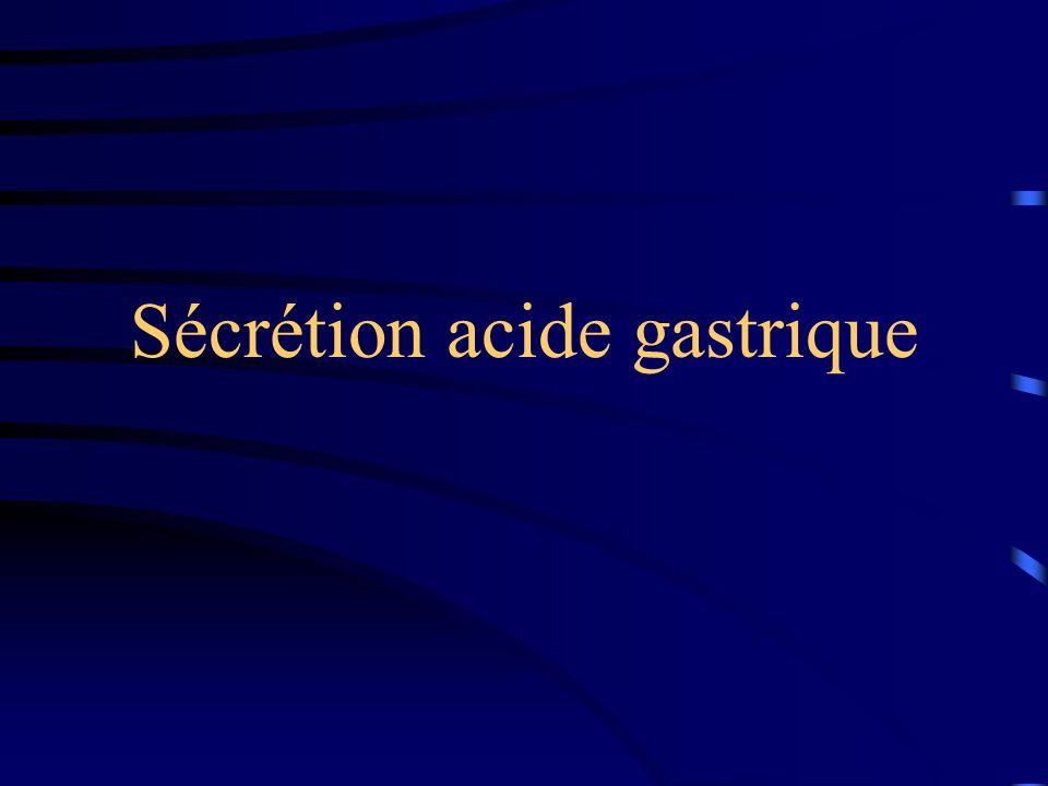 Exploration: tubage gastrique Normale : 1 à 5 mEq d 'HCl par heure Méthode: à jeun 12 heures avant arrêt des médicaments faisant varier la sécrétion d 'acide gastrique (24 heures pour les anti-H2, et 3 jours pour les IPP) SNG au point déclive de l 'estomac, patient en DLG, aspiration continue mesure du volume et de l 'acidité pendant 1 à 2 heures par fraction de 15 minutes