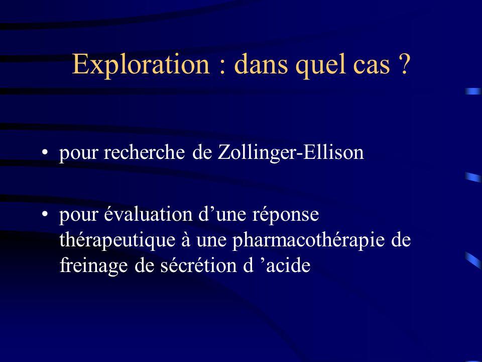 Exploration : dans quel cas ? pour recherche de Zollinger-Ellison pour évaluation d'une réponse thérapeutique à une pharmacothérapie de freinage de sé