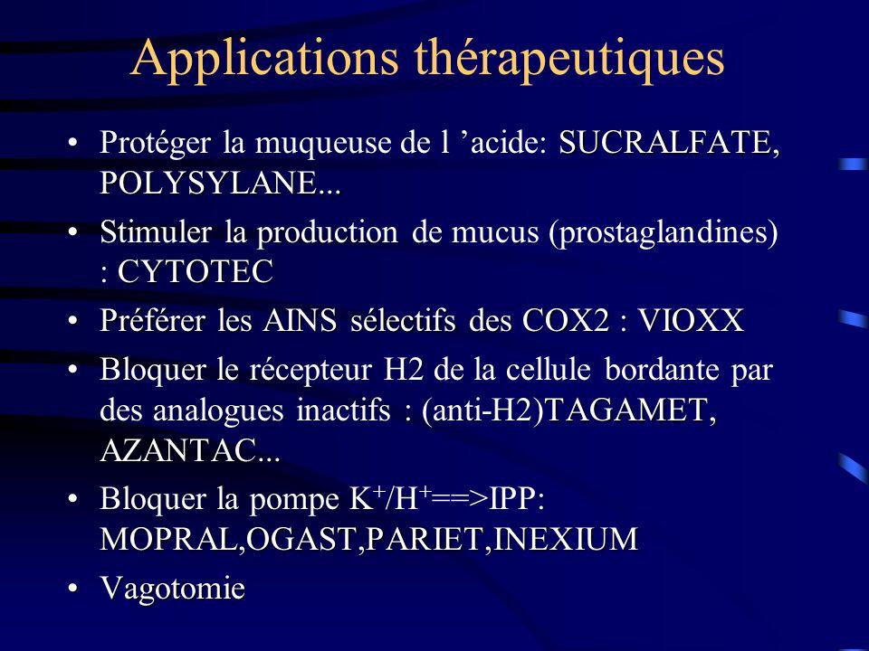 Applications thérapeutiques SUCRALFATE, POLYSYLANE...Protéger la muqueuse de l 'acide: SUCRALFATE, POLYSYLANE... CYTOTECStimuler la production de mucu