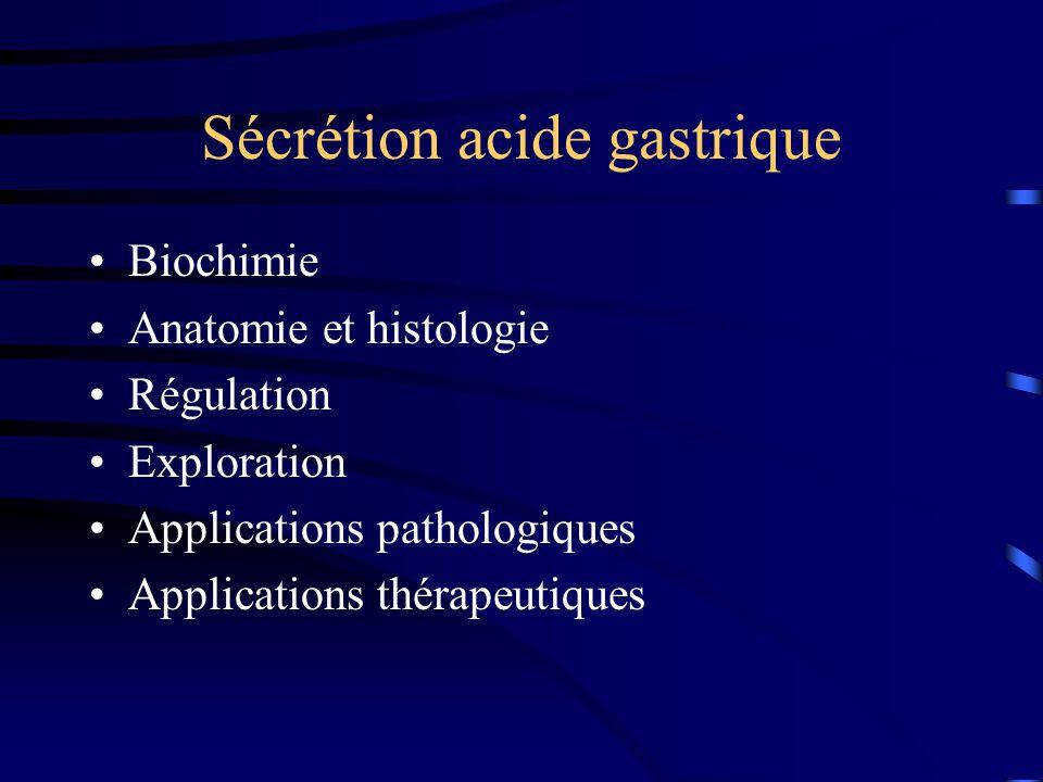 Eau: 2 litres par jour ion H+ pepsine mucus bicarbonates facteur intrinsèque Biochimie 6 éléments importants sont sécrétés par l 'estomac : Pour la digestion des protéines 