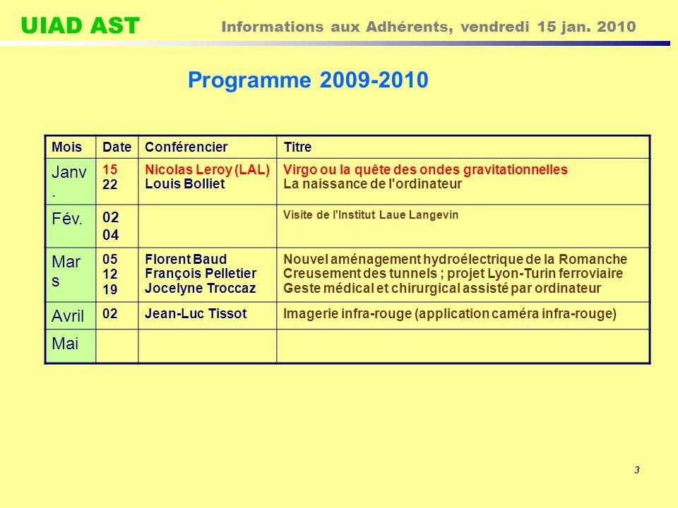 UIAD AST Informations aux Adhérents, vendredi 15 jan. 2010 14 L ACONIT nous communique