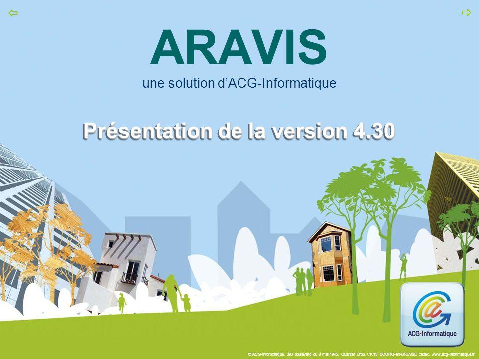© ACG-Informatique. 390 boulevard du 8 mai 1945. Quartier Brou. 01013 BOURG-en-BRESSE cedex. www.acg-informatique.fr   Présentation de la version 4.