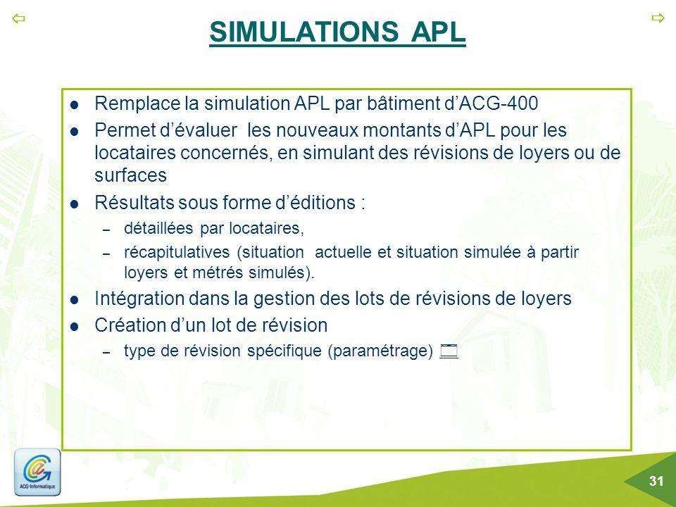   31 SIMULATIONS APL Remplace la simulation APL par bâtiment d'ACG-400 Permet d'évaluer les nouveaux montants d'APL pour les locataires concernés, e