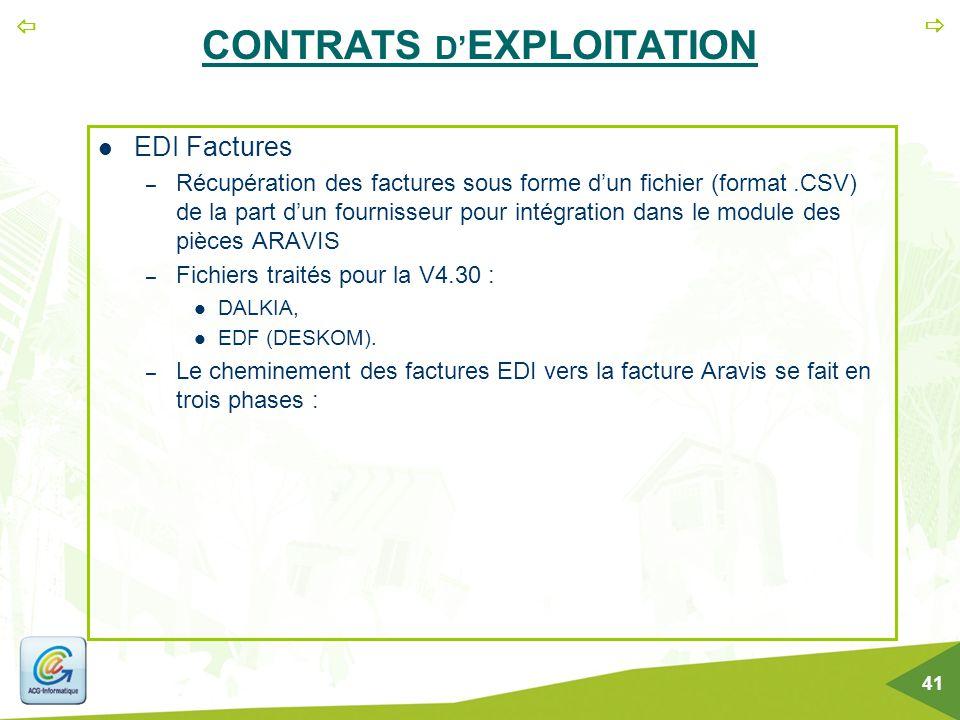   41 CONTRATS D' EXPLOITATION EDI Factures – Récupération des factures sous forme d'un fichier (format.CSV) de la part d'un fournisseur pour intégra