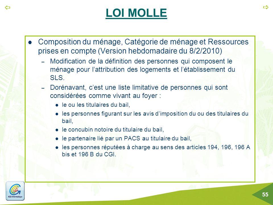   55 LOI MOLLE Composition du ménage, Catégorie de ménage et Ressources prises en compte (Version hebdomadaire du 8/2/2010) – Modification de la déf