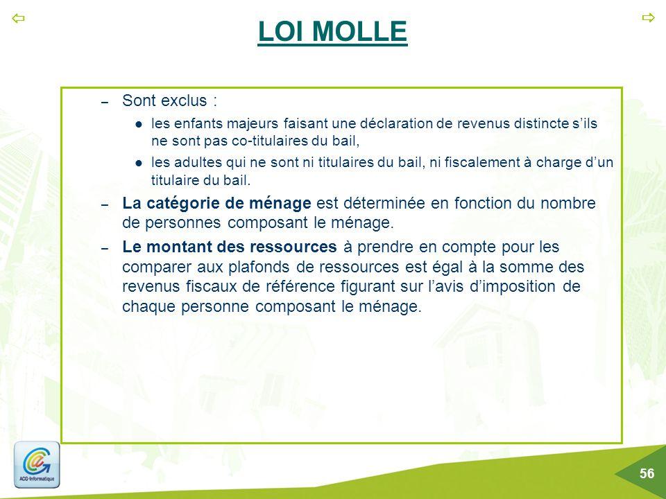   56 LOI MOLLE – Sont exclus : les enfants majeurs faisant une déclaration de revenus distincte s'ils ne sont pas co-titulaires du bail, les adultes