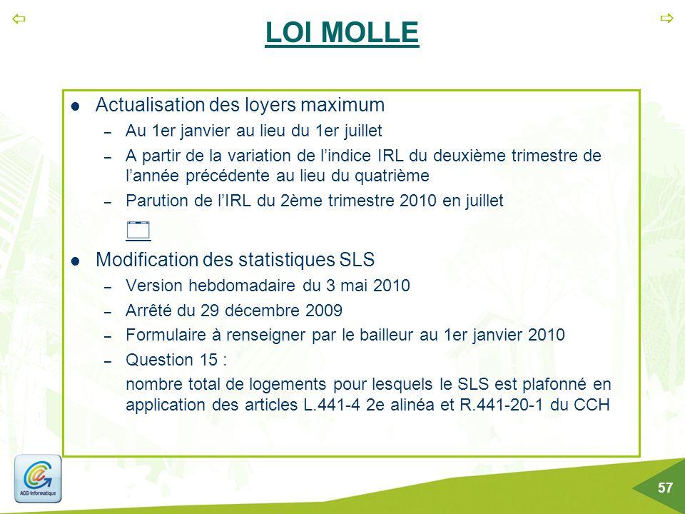   57 LOI MOLLE Actualisation des loyers maximum – Au 1er janvier au lieu du 1er juillet – A partir de la variation de l'indice IRL du deuxième trime