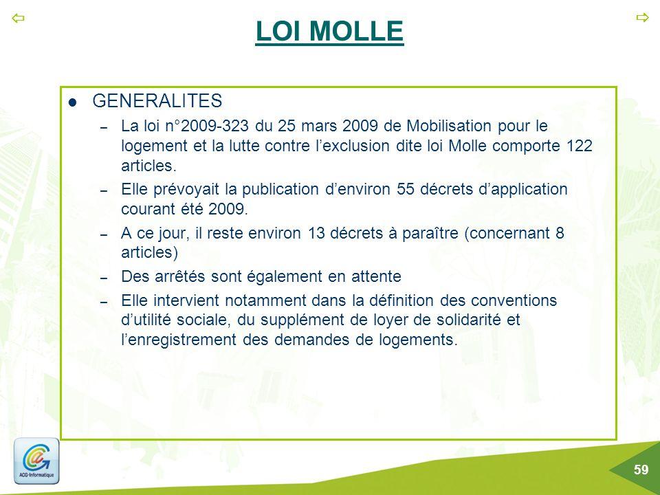   59 LOI MOLLE GENERALITES – La loi n°2009-323 du 25 mars 2009 de Mobilisation pour le logement et la lutte contre l'exclusion dite loi Molle compor