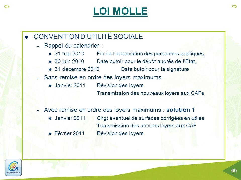  60 LOI MOLLE CONVENTION D'UTILITÉ SOCIALE – Rappel du calendrier : 31 mai 2010Fin de l'association des personnes publiques, 30 juin 2010Date butoi
