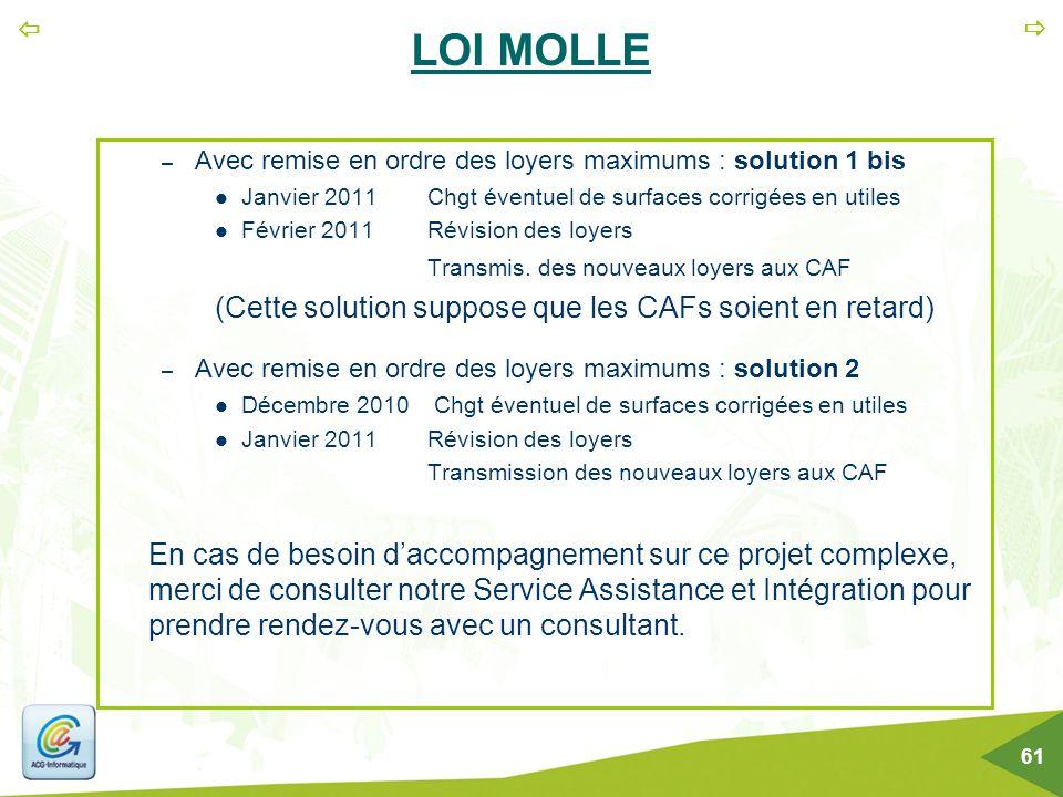   61 LOI MOLLE – Avec remise en ordre des loyers maximums : solution 1 bis Janvier 2011Chgt éventuel de surfaces corrigées en utiles Février 2011Rév
