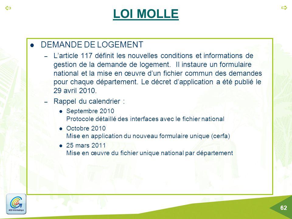   62 LOI MOLLE DEMANDE DE LOGEMENT – L'article 117 définit les nouvelles conditions et informations de gestion de la demande de logement. Il instaur